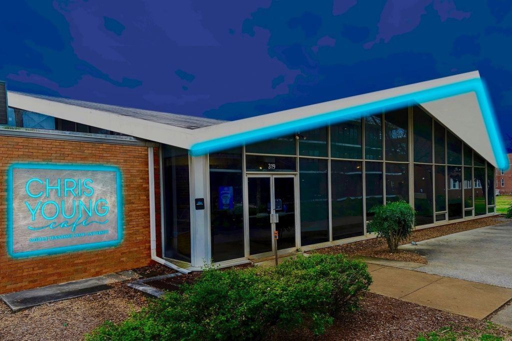 The new Chris Young Café will occupy the building formerly known as the Cyber Café on the MTSU campus. Surrounded by residence halls, it will be a teaching and practice place for student performers and technicians during the day and a performance venue at night for music, radio broadcasts, comedy and other entertainment. (MTSU rendering)