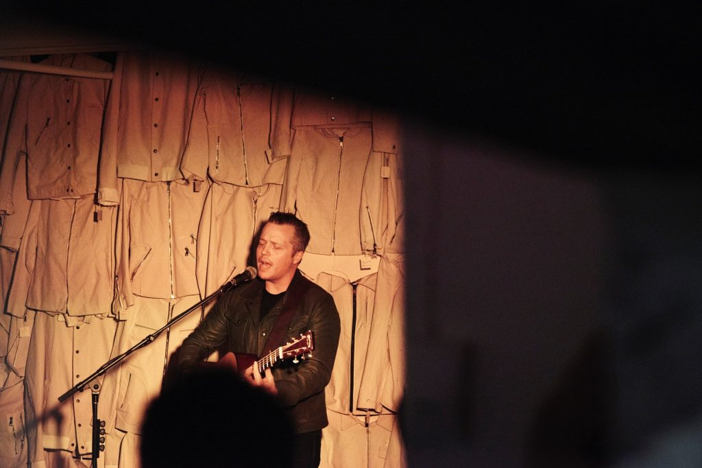Jason Isbell performing in his Custom Collection Denham Jacket from AtelierSavas; Photo credit: Danielle Atkins