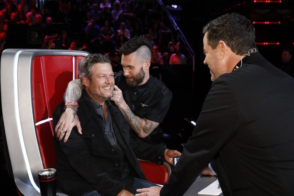 "THE VOICE -- ""Live Top 8 Results"" Episode 1615B -- Pictured: (l-r) Blake Shelton, Adam Levine, Carson Daly -- (Photo by: Trae Patton/NBC)"