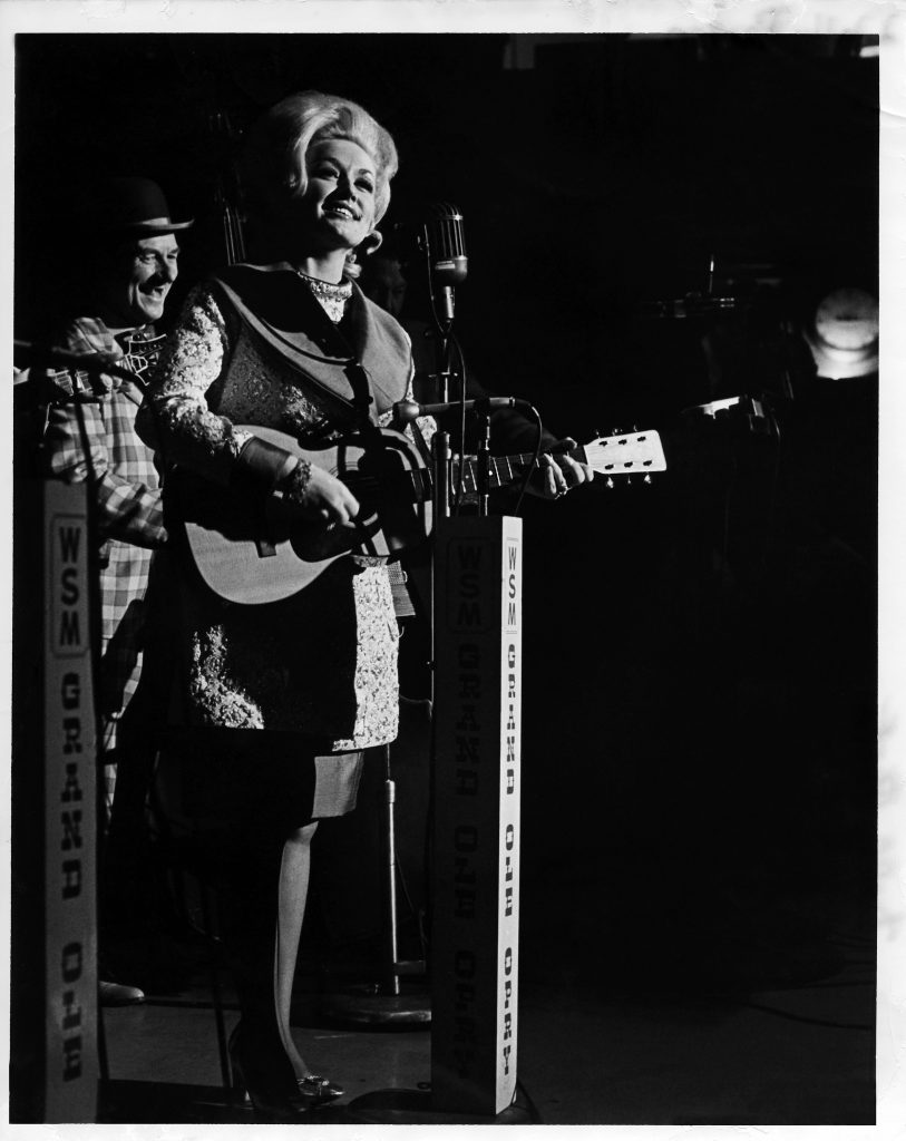 """Dolly: My Opry Memories"" exhibit will include the dress worn on the evening of her Opry induction (1969); Photo Courtesy of Grand Ole Opry archives, photographer Les Leverett"