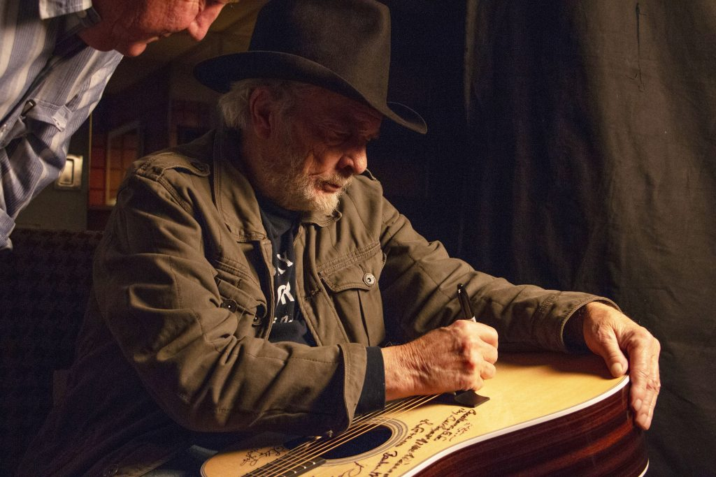 Merle Haggard with Dayton Duncan in December 2014; Photo credit: Jared Ames