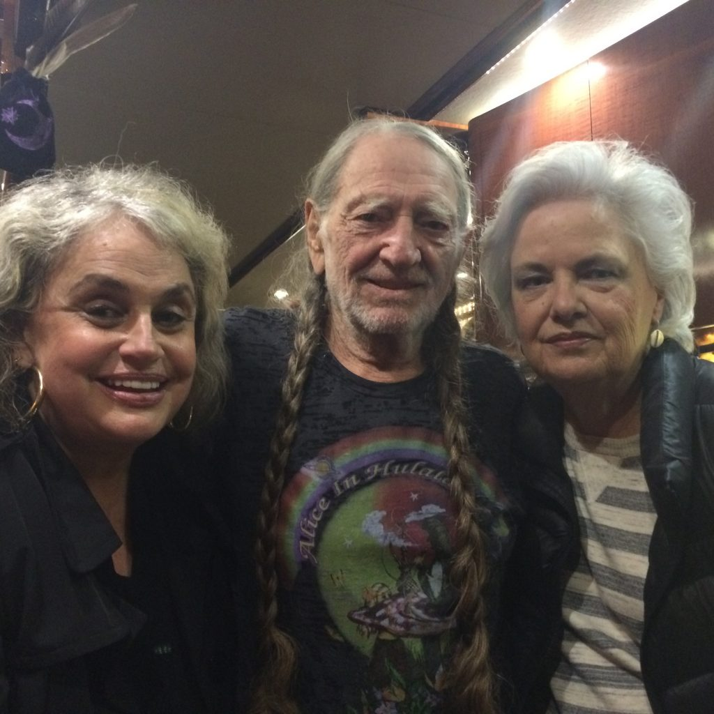 Susan Nadler, Willie Nelson, and Evelyn Shriver; Photo courtesy of Shady Ladies of Music City