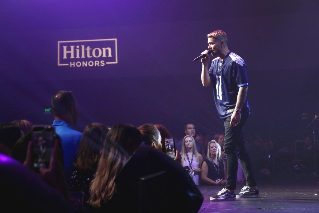 NASHVILLE, TENNESSEE - SEPTEMBER 12: Brett Young performs for Hilton Honors Members who redeemed points for an Exclusive Concert by Brett Young at the Country Music Hall of Fame and Museum on September 12, 2019 in Nashville, Tennessee. (Photo by Koury Angelo/Getty Images for Hilton)