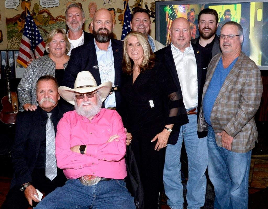 Back row left to right: Darryl Worley, Storme Warren, Chris Young; Middle row left to right: Sarah Morrison (Shepherd Center), Travis Ellis (Shepherd's Men), Judy Seale, General Max Haston (TJHP), Donnie Mingus; Front row left to right: David Corlew (TJHP), Charlie Daniels; Photo credit: Rick Diamond Photography
