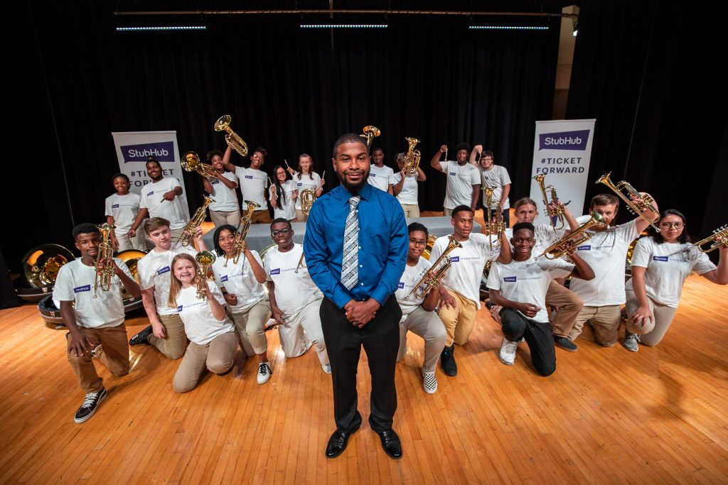 William Brooks and students from Hunters Lane High School band, Human Boombox; Photo courtesy of StubHub