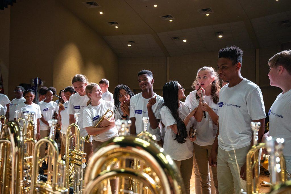 Students from Hunters Lane High School band, Human Boombox; Photo courtesy of StubHub