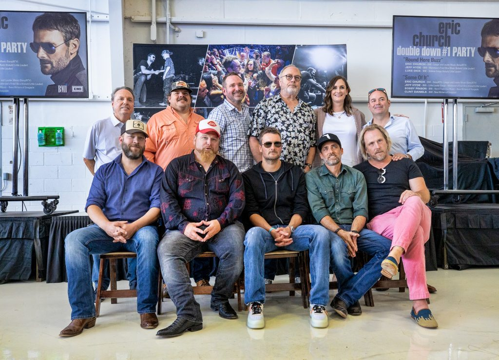 """Eric Church Celebrates Chart-Topping Songs """"Some Of It"""" and """"Round Here Buzz"""" with (back row, L to R): BMI's Jody Williams, SeaGayle Music's JD Groover, Sony ATV's Josh Van Valkenburg, UMG Nashville's Mike Dungan, BMI's MaryAnn Keen, Little Louder Music's Arturo Buenahora and his co-writers (front row, L to R): Jeff Hyde, Bobby Pinson, (Church), Clint Daniels and Luke Dick; Photo Credit: Anthony D'Angio"""