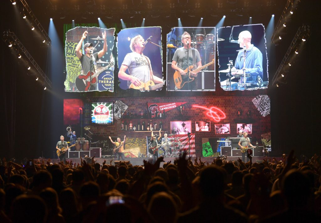 NASHVILLE, TENNESSEE - SEPTEMBER 07: Dean Felber, Jim Sonefeld, Darius Rucker and Mark Bryan of Hootie And The Blowfish performs at Bridgestone Arena on September 07, 2019 in Nashville, Tennessee. (Photo by Jason Kempin/Getty Images for Essential Broadcast Media)