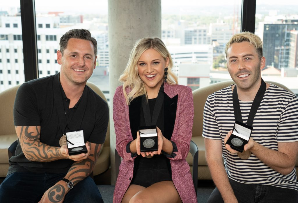 (L-R): David Hodges (BMI), Kelsea Ballerini (ASCAP), Leland (ASCAP); Photo credit: Steve Lowry