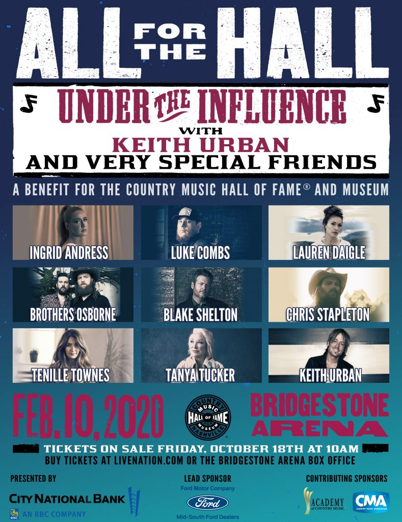 Keith Urban's All for the Hall Benefit concert poster; Courtesy of Keith Urban