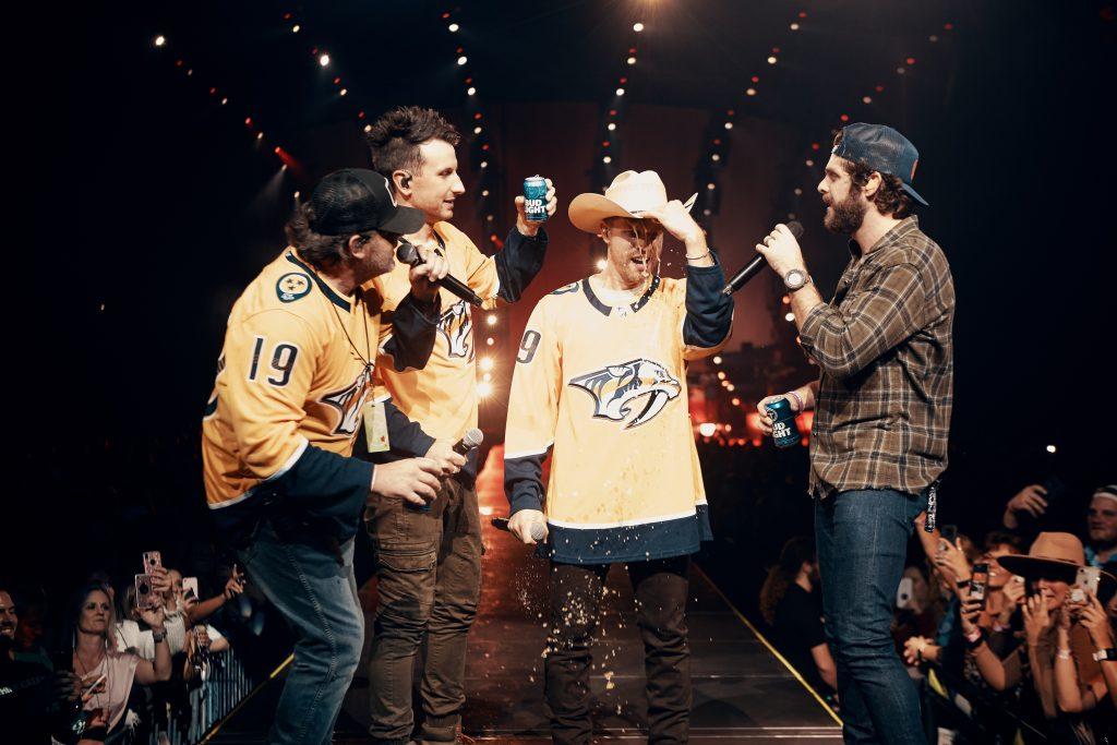 L-R: Rhett Akins, Russell Dickerson, Dustin Lynch, Thomas Rhett; Photo credit: Spencer Combs