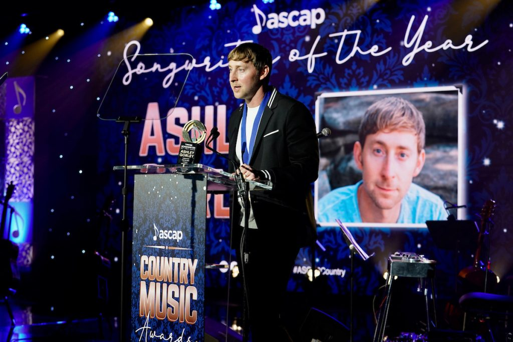 Ashley Gorley accepts his seventh Songwriter of the Year Award; Photo credit: Ed Rode