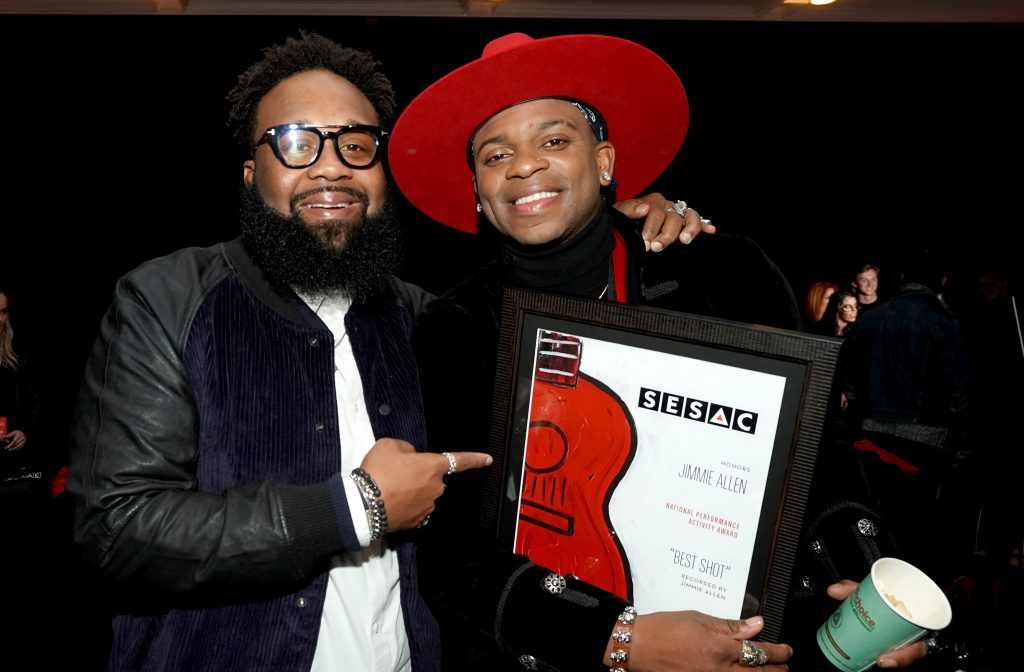 NASHVILLE, TENNESSEE - NOVEMBER 10: Blanco Brown (L) and Jimmie Allen attend the 2019 SESAC Nashville Music Awards at Country Music Hall of Fame and Museum on November 10, 2019 in Nashville, Tennessee. (Photo by Erika Goldring/Getty Images for SESAC)