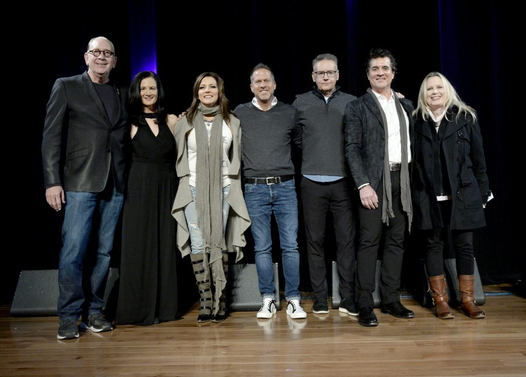 NASHVILLE, TENNESSEE - NOVEMBER 12: John Esposito, Leslie Fram, Martina McBride, Jon Loba, Randy Goodman, Scott Borchetta and Cindy Mabe speak onstage at the 2019 CMT Next Women Of Country Celebration at CMA Theater at the Country Music Hall of Fame and Museum on November 12, 2019 in Nashville, Tennessee. (Photo by Rick Diamond/Getty Images for CMT)