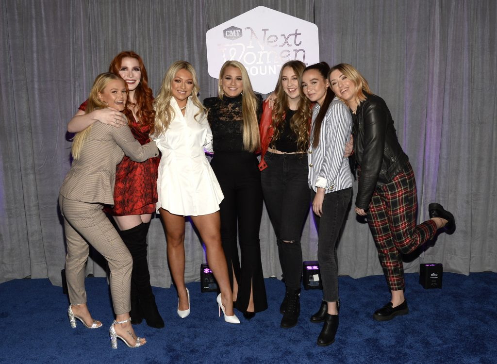 NASHVILLE, TENNESSEE - NOVEMBER 12: (L-R) Hailey Whitters, Caylee Hammack, Gabby Barrett, Sami Bearden, Savana Santos and Sam Backoff of Avenue Beat attends the 2019 CMT Next Women Of Country Celebration at CMA Theater at the Country Music Hall of Fame and Museum on November 12, 2019 in Nashville, Tennessee. (Photo by Rick Diamond/Getty Images for CMT)