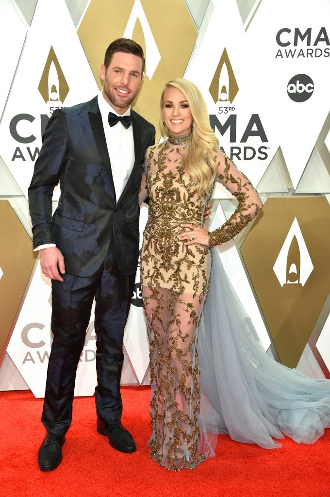 NASHVILLE, TENNESSEE - NOVEMBER 13: Mike Fisher and Carrie Underwood attend the 53rd annual CMA Awards at the Music City Center on November 13, 2019 in Nashville, Tennessee. (Photo by John Shearer/WireImage,)