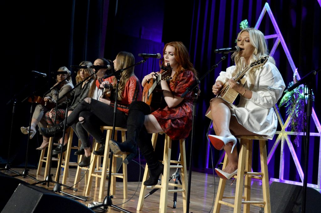 NASHVILLE, TENNESSEE - NOVEMBER 12: (L-R) Hailey Whitters, Sami Bearden, Savana Santos, Sam Backoff, Caylee Hammack, and Abbey Cone performs at the 2019 CMT Next Women Of Country Celebration at CMA Theater at the Country Music Hall of Fame and Museum on November 12, 2019 in Nashville, Tennessee. (Photo by Rick Diamond/Getty Images for CMT)