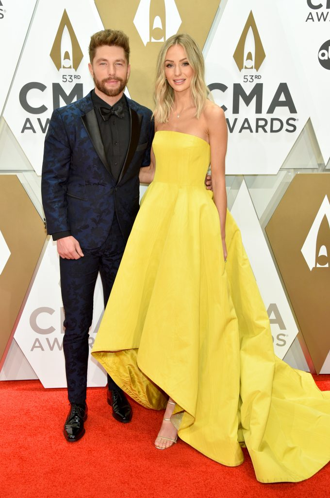 NASHVILLE, TENNESSEE - NOVEMBER 13: Chris Lane and Lauren Bushnell attend the 53rd annual CMA Awards at the Music City Center on November 13, 2019 in Nashville, Tennessee. (Photo by John Shearer/WireImage,)