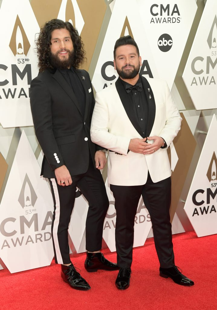 NASHVILLE, TENNESSEE - NOVEMBER 13: Dan Smyers and Shay Mooney of Dan + Shay attend the 53rd annual CMA Awards at the Music City Center on November 13, 2019 in Nashville, Tennessee. (Photo by Jason Kempin/Getty Images)