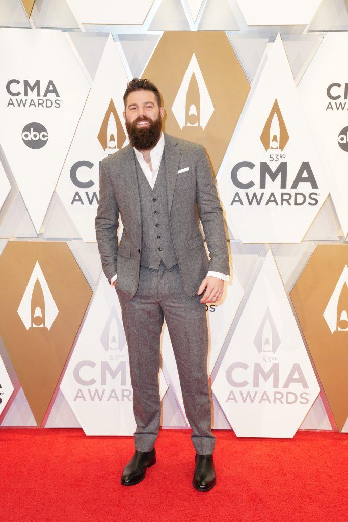 "Jordan Davis on the Red Carpet at ""The 53rdAnnual CMA Awards,"" on Wednesday, November 13, 2019 at Bridgestone Arena in Downtown Nashville. Photo courtesy of CMA"