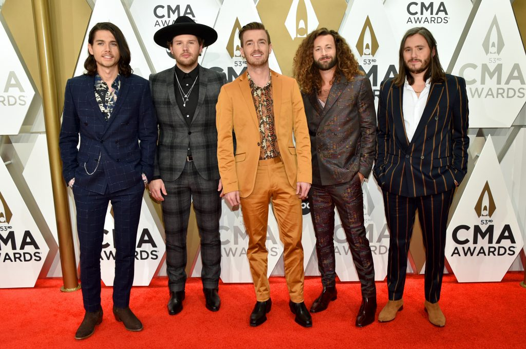 NASHVILLE, TENNESSEE - NOVEMBER 13: (L-R) Chandler Baldwin, Jared Hampton, Brandon Lancaster, Eric Steedly and Trip Howell of LANco attend the 53rd annual CMA Awards at the Music City Center on November 13, 2019 in Nashville, Tennessee. (Photo by John Shearer/WireImage,)