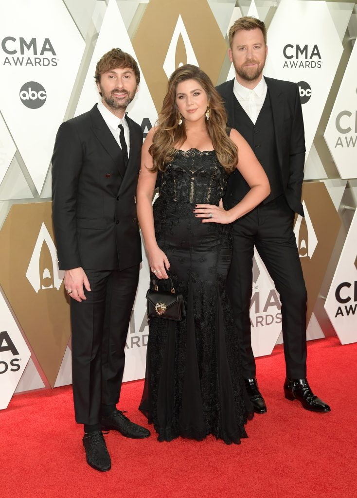 NASHVILLE, TENNESSEE - NOVEMBER 13: (L-R) Dave Haywood, Hillary Scott and Charles Kelley of Lady Antebellum attend the 53rd annual CMA Awards at the Music City Center on November 13, 2019 in Nashville, Tennessee. (Photo by Jason Kempin/Getty Images)