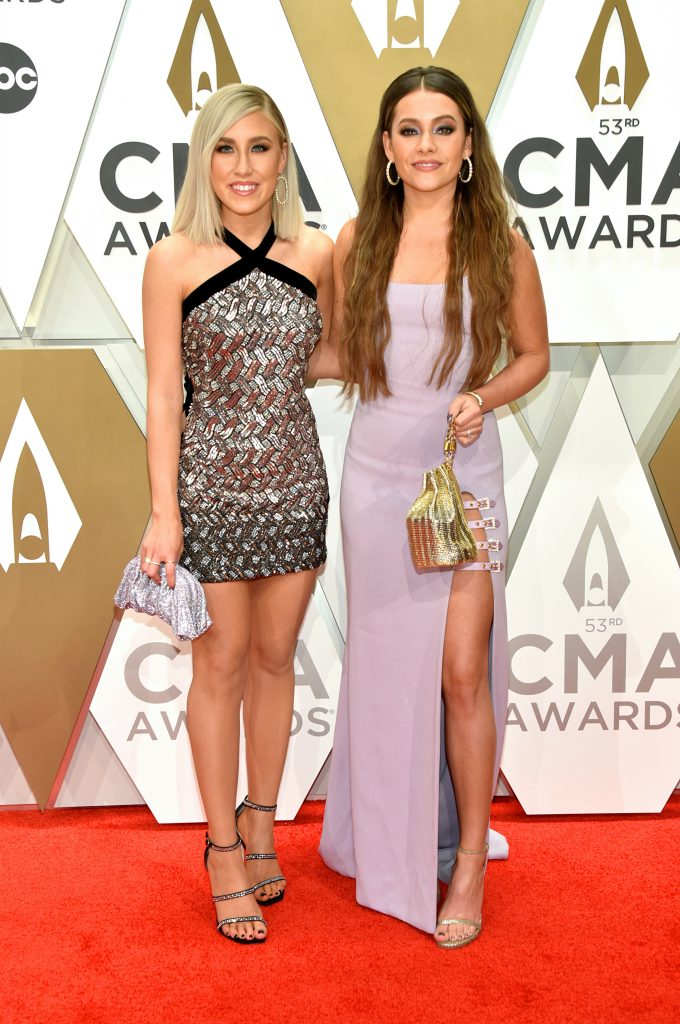 NASHVILLE, TENNESSEE - NOVEMBER 13: Madison Marlow and Taylor Dye of Maddie & Tae attend the 53rd annual CMA Awards at the Music City Center on November 13, 2019 in Nashville, Tennessee. (Photo by John Shearer/WireImage,)