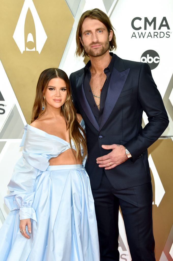 NASHVILLE, TENNESSEE - NOVEMBER 13: Maren Morris (L) and Ryan Hurd attend the 53rd annual CMA Awards at the Music City Center on November 13, 2019 in Nashville, Tennessee. (Photo by John Shearer/WireImage,)