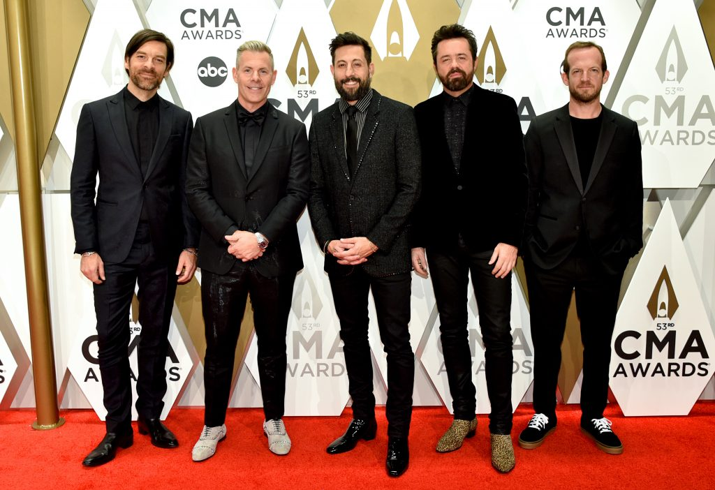 NASHVILLE, TENNESSEE - NOVEMBER 13: (L-R) Geoff Sprung, Trevor Rosen, Matthew Ramsey, Brad Tursi and Whit Sellers of Old Dominion attend the 53rd annual CMA Awards at the Music City Center on November 13, 2019 in Nashville, Tennessee. (Photo by John Shearer/WireImage,)