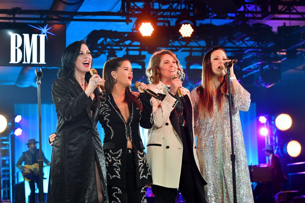 NASHVILLE, TENNESSEE - NOVEMBER 12: (L-R) Amanda Shires, Maren Morris, Brandi Carlile and Natalie Hemby of The Highwomen perform onstage as BMI presents Dwight Yoakam with President's Award at 67th Annual Country Awards Dinner at BMI on November 12, 2019 in Nashville, Tennessee. (Photo by Erika Goldring /Getty Images)
