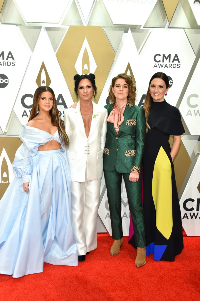 NASHVILLE, TENNESSEE - NOVEMBER 13: (L-R) Maren Morris, Amanda Shires, Brandi Carlile and Natalie Hemby of The Highwomen attend the 53rd annual CMA Awards at the Music City Center on November 13, 2019 in Nashville, Tennessee. (Photo by John Shearer/WireImage,)