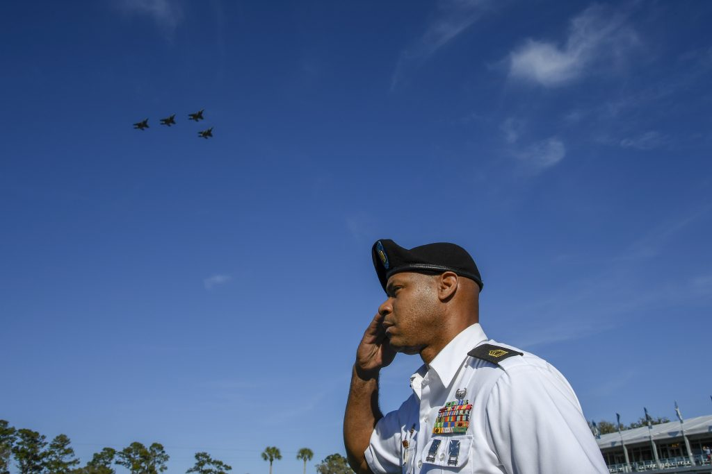 PONTE VEDRA BEACH, FL - MARCH 12: A flyover is performed by the 125th Fighter Wing of the Florida Air National Guard during the Military Appreciation Day at the 17th hole prior to THE PLAYERS Championship on THE PLAYERS Stadium Course at TPC Sawgrass on March 12, 2019, in Ponte Vedra Beach . (Photo by Chris Condon/PGA TOUR)