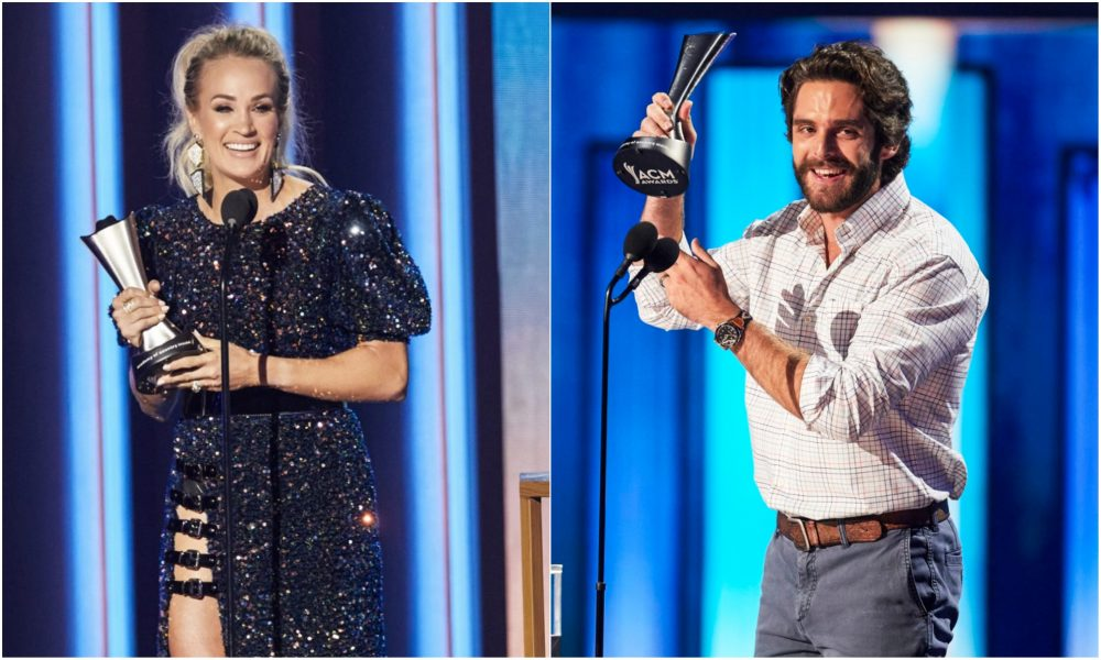 Thomas Rhett and Carrie Underwood React to Entertainer of the Year Wins
