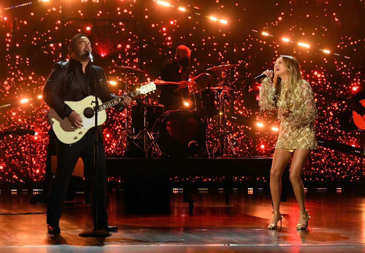 Carly Pearce Radiates On Stage During 2021 ACM Awards Performance With Lee Brice